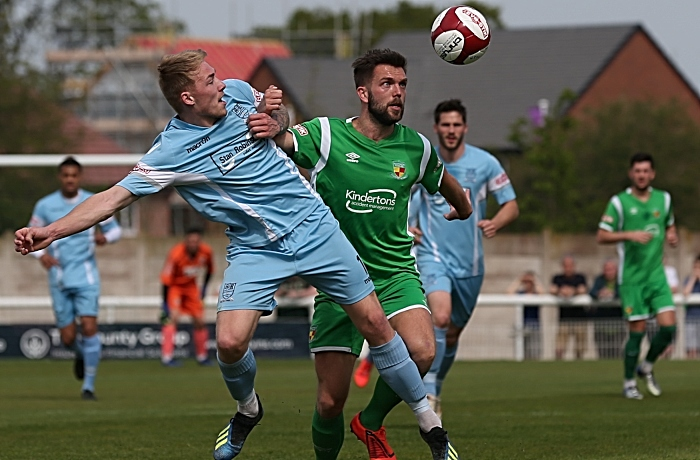 Nantwich Town eye the ball in the first-half (1)