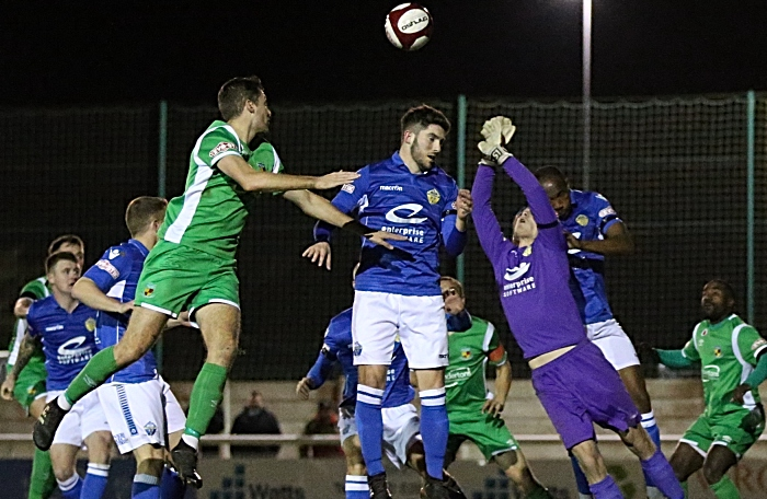 Nantwich Town fight for the ball (1)