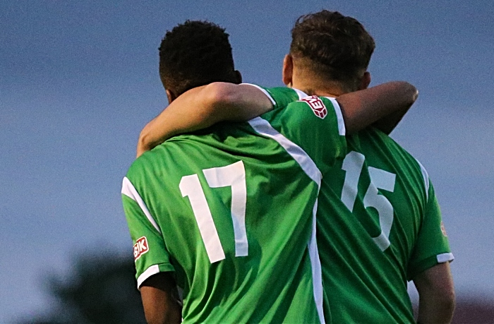 Nantwich Town goal - David Neligwa celebrates with Jordan Davies (1)