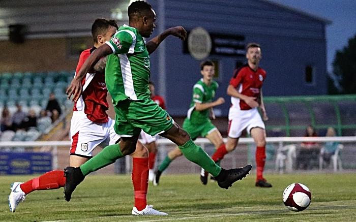 Nantwich Town goal v Crewe Alexandra - David Neligwa scores past Ben Garrett (1) (1)