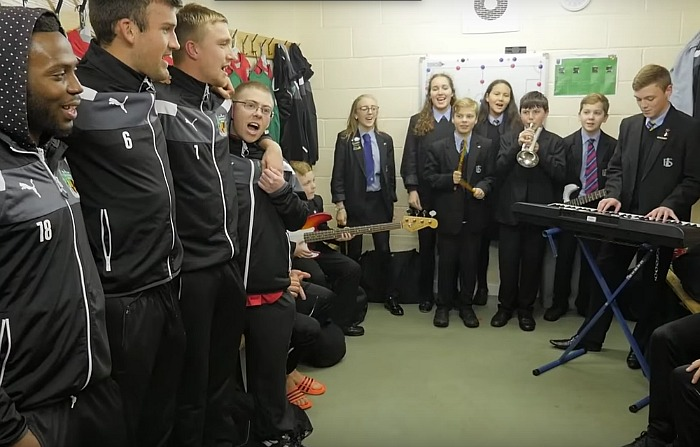 club video - Nantwich Town players and Brine Leas R&B band