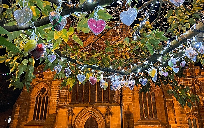 Nantwich Tree of Light with St Marys Church in background (1)