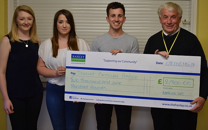 Nantwich Young Farmers present a cheque to Dennis Vickers from the Douglas Macmillan Hospice