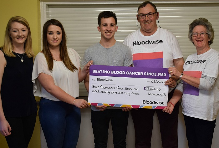 Nantwich Young Farmers present a cheque to Mike and Liz Boffey from Bloodwise