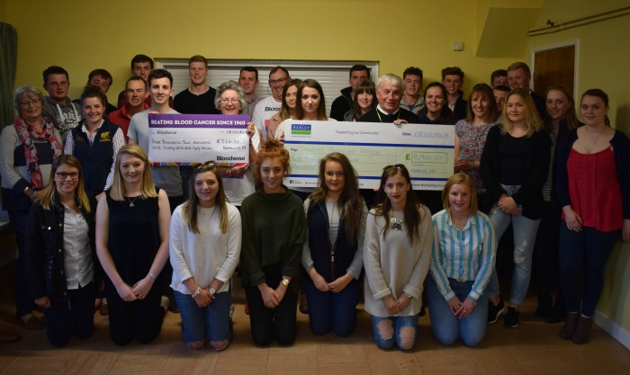Nantwich Young Farmers present the two cheques
