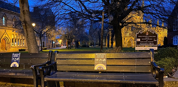 Nantwich bench with social distancing sign - town square (1) (1)