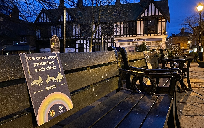 Nantwich bench with social distancing sign - town square (3) (1)