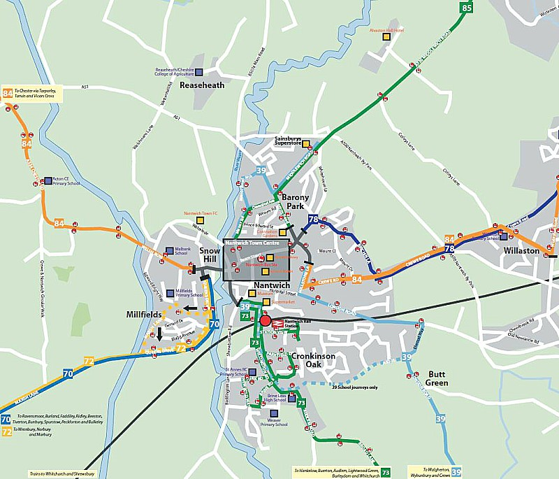 Nantwich bus routes map