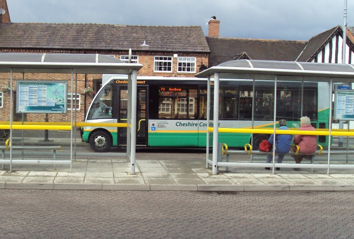bus timetable services Nantwich bus station, where glass shelter was destroyed - pic under creative commons by Rept0n1x