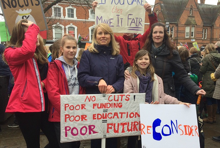 Nantwich families at school funding cuts protest