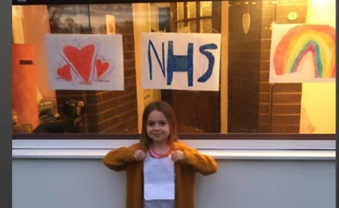 Nantwich girl displayed messages for NHS workers