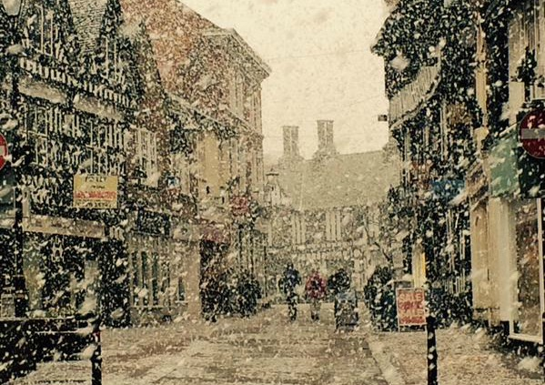 Nantwich in the snow, pic by Kirsty Taylor on Twitter