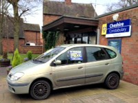 Seized vehicle on display outside Nantwich police station