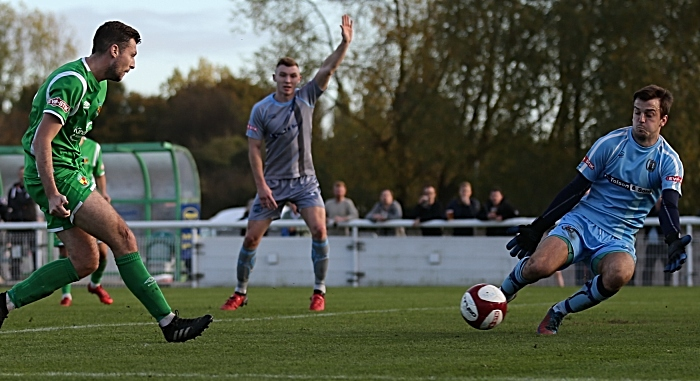 Nantwich shot is wide of goal v Workington