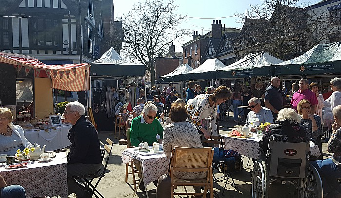 Nantwich spring market on town square