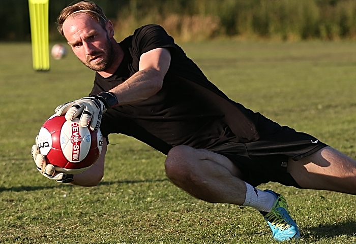 New Dabbers goalkeeper Greg Hall saves the ball during training (1)