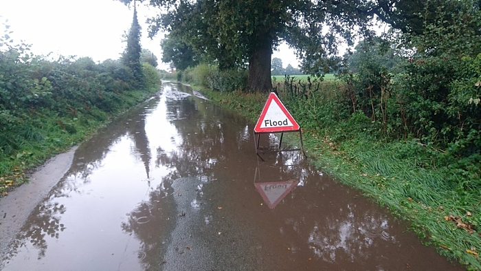 New Road in Wrenbury, flooded, pic by Oly Lowe