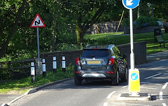 New splitter island located on Church Lane throws traffic heading towards Crewe (1)