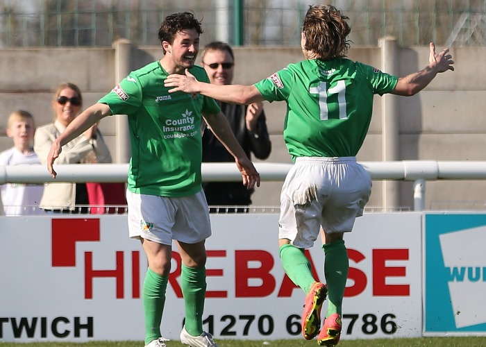 Nicky Platt celebrates opener against Witton Albion