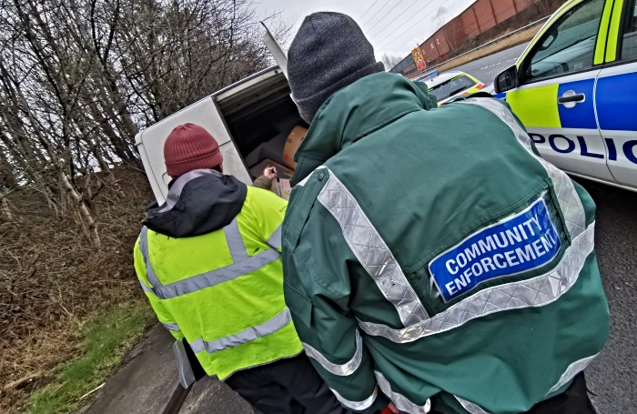 waste - Officers stop and search a van during the operation (1)