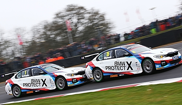 Oliphant and Turkington in BMWs at brands hatch
