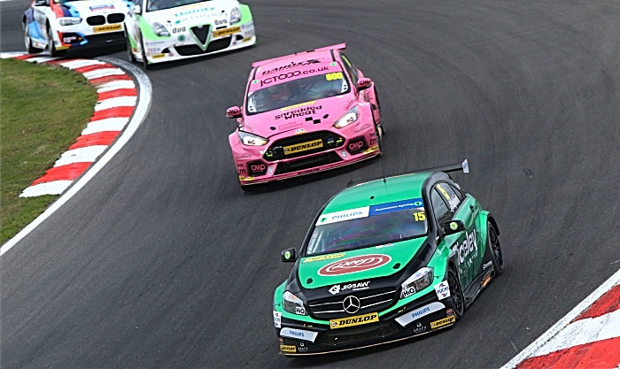 Oliphant in Mercedes at Brands hatch