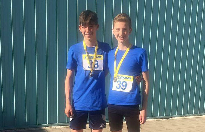 Oliver Atkinson (right) and Ben Verbickas, gold medal winners for Cheshire, sportshall finals