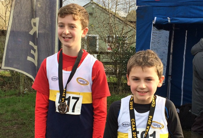 Oliver Atkinson (left) and Isaac Leydon, U11s boys team bronze winners, Cheshire Cross Country championships