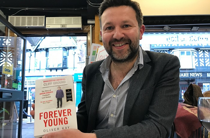 Oliver Kay with his book - Forever Young - The Story of Adrian Doherty Footballs Lost Genius