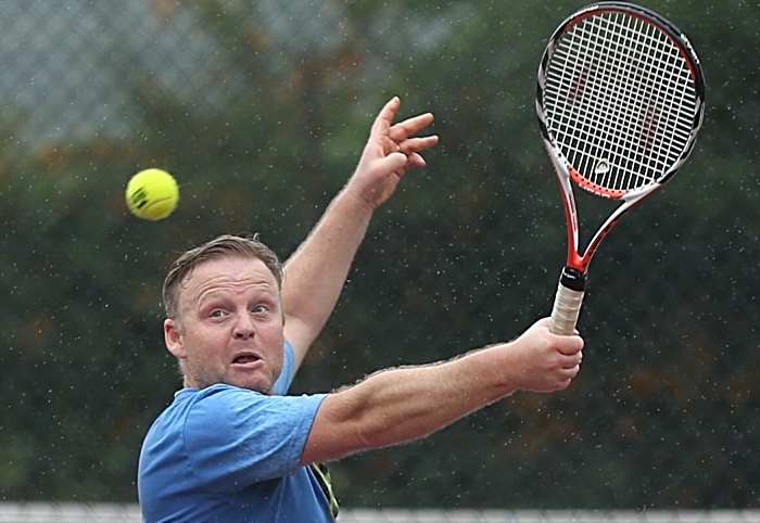 Open Doubles Final - Paul Unwin eyes the ball (1)