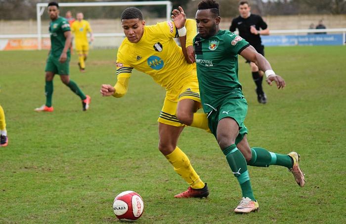 Osebi Abadaki battles for the ball