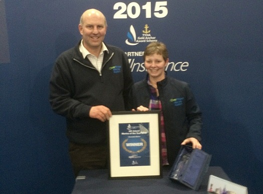 Overwater Marina owners Janet and Angus Maughan at the London Boat show