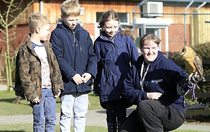 Owen and Henry Metcalfe, Emma Savage, Kira Grimshaw with Hilda barn owl (1)