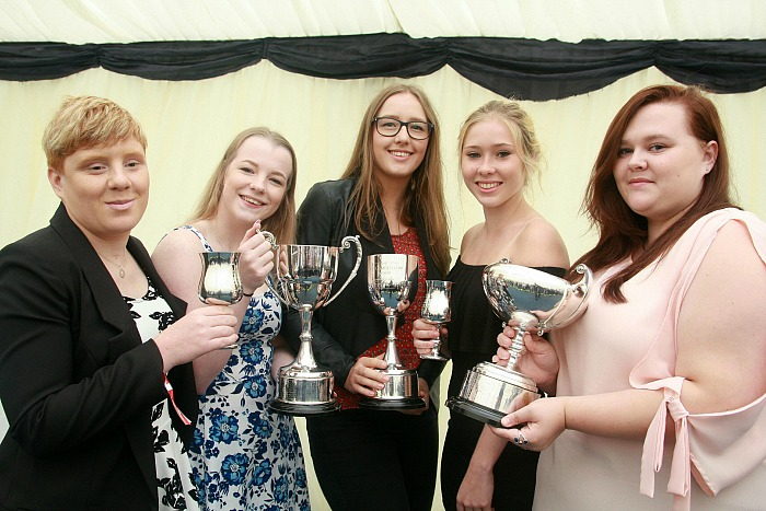 ceremony - P1 Cross college award winners Emmalise Mills, Kerri-Anne Williams, Rachel Woodacre, Jess Whitfield, Hannah Holwell