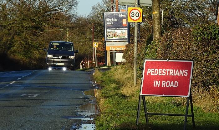 safety - PEDESTRIANS IN ROAD sign on Wistaston Green Road (1) (1)