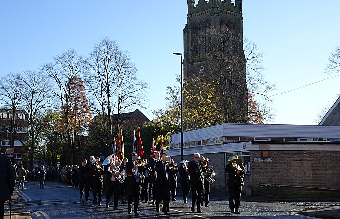 Parade travels past Christ Church in Crewe