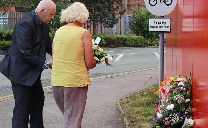 Paul Bates and Diane Yates - crane collapse, laying flowers