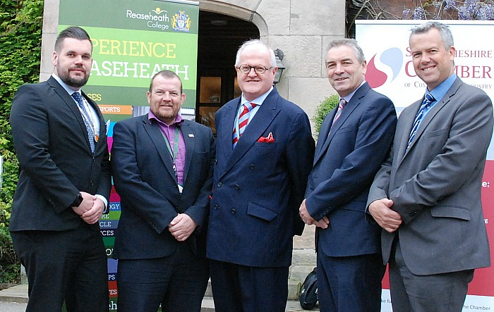 Chamber update - Paul Colman (right) with Reaseheath College's Stephen Morris, Cheshire East Council's Chris Hindle, Alex Thompson and Cllr Peter Groves