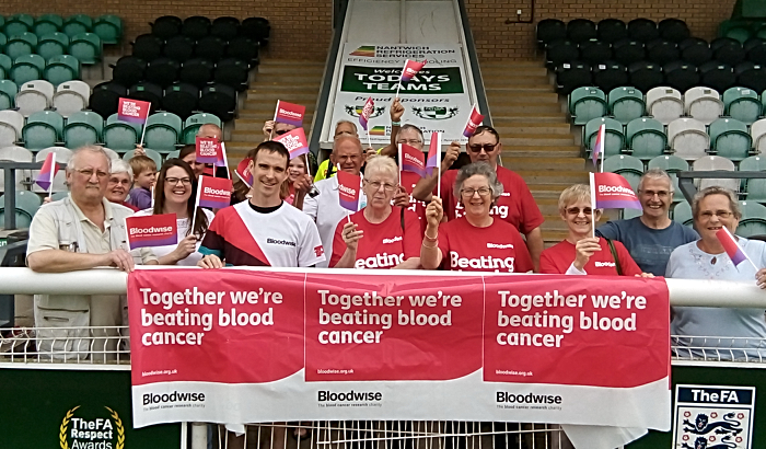 Paul Dean at the Weaver Stadium in Nantwich with supporters from Bloodwise - South Cheshire Branch