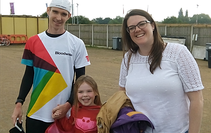 marathons - Paul Dean at the Weaver Stadium in Nantwich with wife Stephanie and daughter Molly