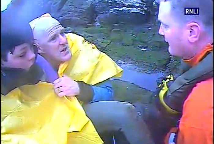 Kiss of life - Paul and Joe Rowlands rescued by RNLI