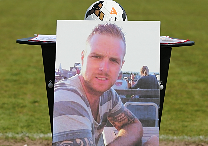 Photo portrait of Gareth Jones pitchside prior to The Everall Derby football match