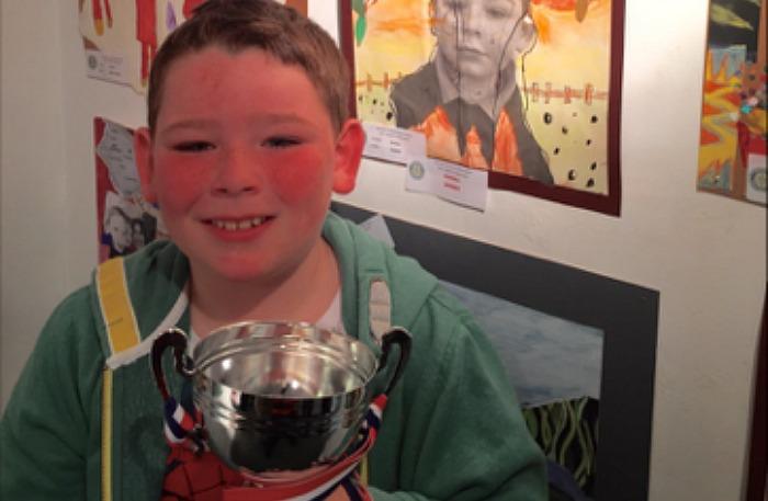 2015 Overall art champion Jayden Bailey from Acton School with his winning artwork