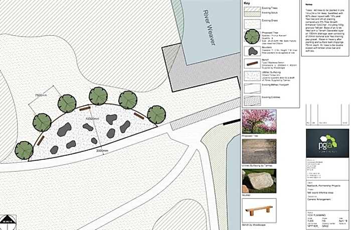 Plans for Mill Island feature area