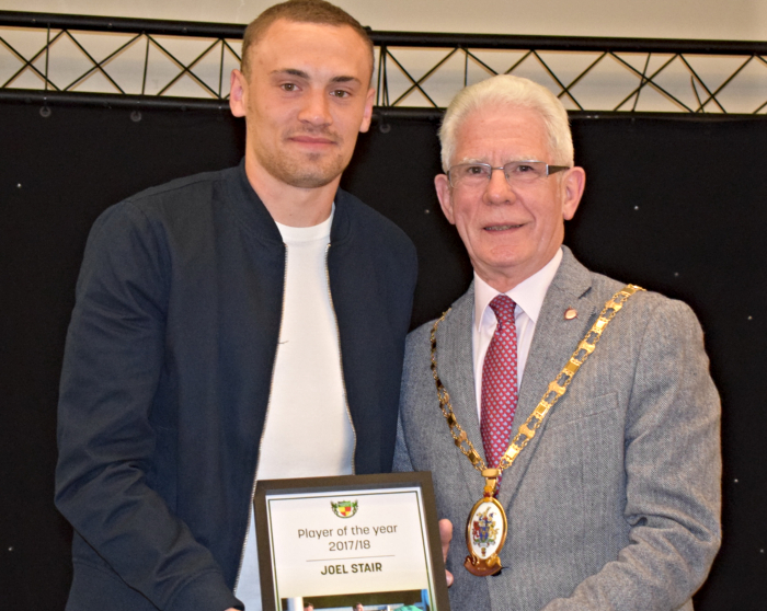 awards - Player of the year 2017-18 - Joel Stair receives his award from Mayor of Cheshire East Councillor Arthur Moran (1)