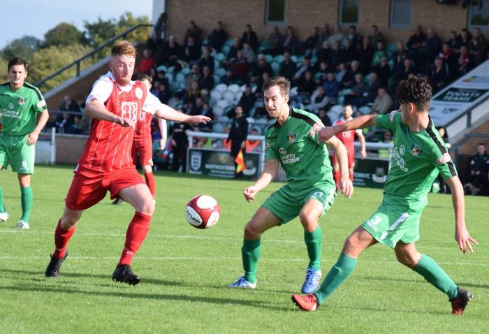 Players eye the ball - Nantwich v Ashton United
