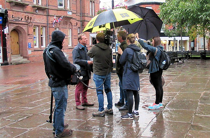 Portillo and Great British Railway Journeys BBC team in Nantwich square