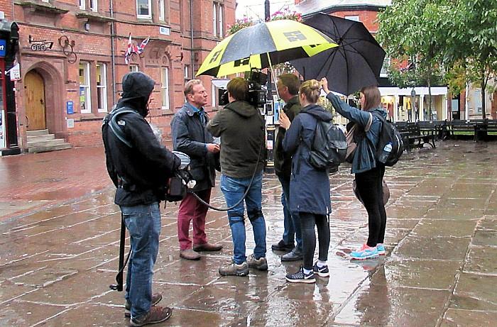 Portillo and Great British Railway Journeys BBC team in Nantwich square