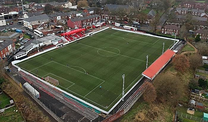 Ashton United Stadium aerial view