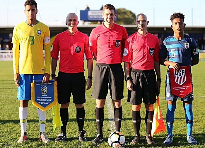 Pre-match - officials and team captains with pennants (1)